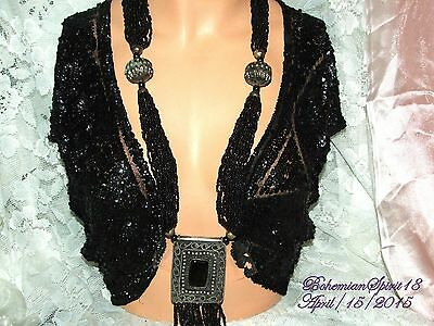 Vintage In Style Tribal Morocco Multi Strand Glass Beads Large Pendant Necklace