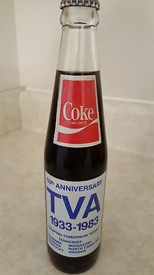 Coke Tva 50Th Anniversary Sealed Bottle Coca Cola 150 Years Tennessee Valley