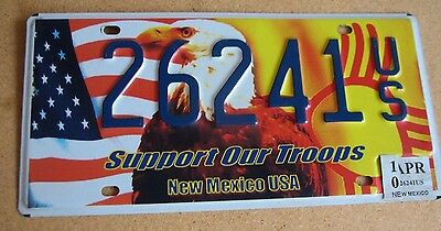 """New Mexico  Patriot License Plate """" 26241 Us """" Support Our Troops Military Vet"""