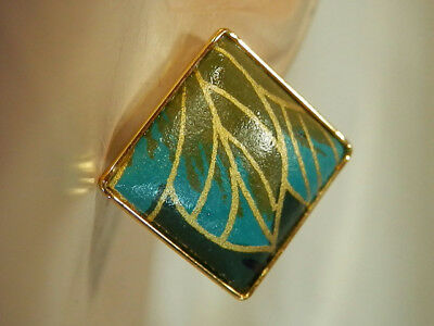 Vintage 80s Hand Crafted Tezukuri Haute Couture Enamel Pierced Earrings 157a7