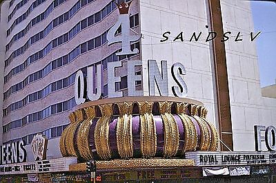 35mm 2 Color Slides of the 4 Queens Hotel Casino Sign Las Vegas Street View 1969