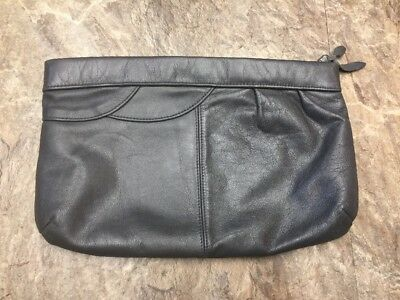 """Contessa Vintage Gray Genuine Leather Zipper Top Large Clutch 12"""" x 8"""" Hong Kong"""