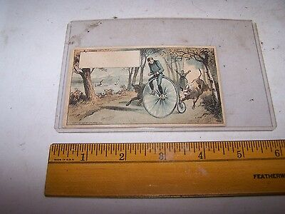OLD GOLD COFFEE Trade Card Robertson & Perry INDIANAPOLIS Penny Farthing Bicycle