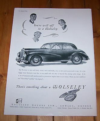 1952 WOLSELEY Automobile Full Page Ad Advertisement