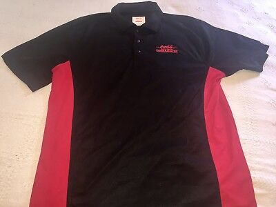 Cole Coca Cola Consolidated Polo Shirt Black With Red Side Mens Size L