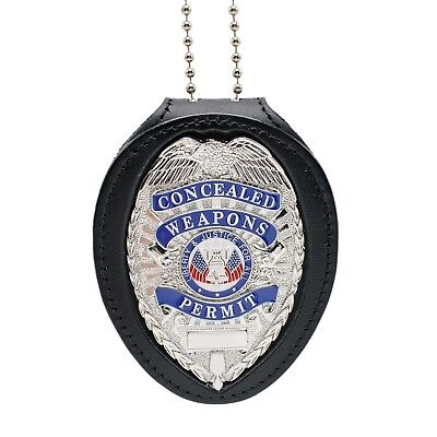 CWP Concealed Weapons Permit Clip On Belt Neck Chain Leather Badge Holder Silver