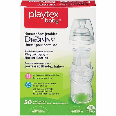 50 Count Playtex Baby Nurser Drop-Ins Baby Bottle Disposable Liners 4oz