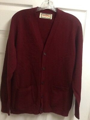 Vintage Alan Paine Red Lambswool Cardigan Sweater Men's Size 40 Made in England