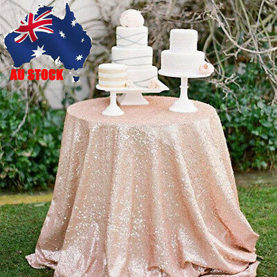 AU 12''*120'' Rose Gold Sequined Fabric Table Runner Cover Wedding Party Decor