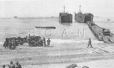 WWII Org 1940s Photo Finish PC- Camp Bradford Little Creek VA- LST- Jeep- Beach