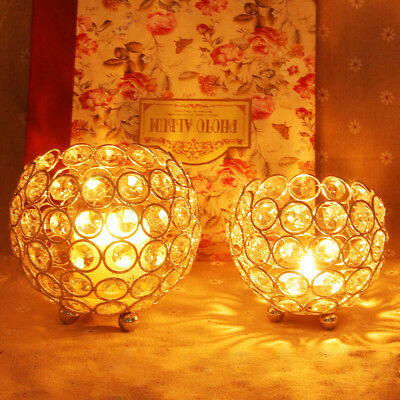 Hot Crystal Hollow Light Ball Wedding Party Candle Holder Candlestick Home Decor