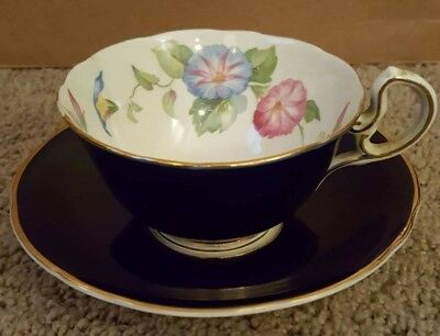 Antique Aynsley England Bone China - Cobalt w/ Gold Trim and Floral Inner Cup