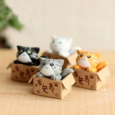 4pcs Cartoon Anime Cheese Cat Action Figure Resin Toy Cat Model Kid ChristmasToy