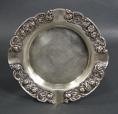 Antique Victorian Sterling Silver Repousse Rose Flowers Ashtray Pin Dish 50 Gram
