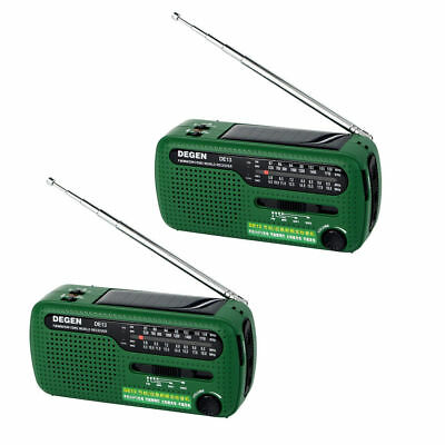 2X DEGEN DE13 FM MW SW Cranking Dynamo Solar Emergency Radio World Receiver New