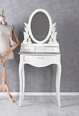 Dressing Table White Make-up Table Mirror Antique console Wood three drawers new