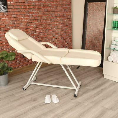 Manual White Massage Couch Leather Bed Beauty Therapist Treatment Chair Facial