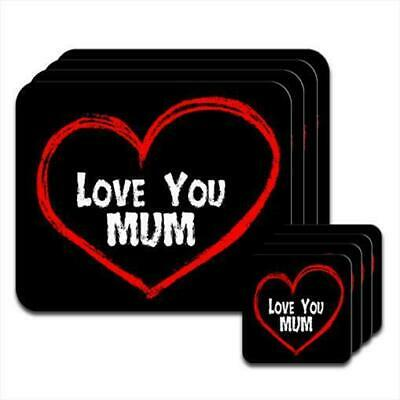 Love You Mum Mother Birthday Gift Set Of 4 Placemats Coasters