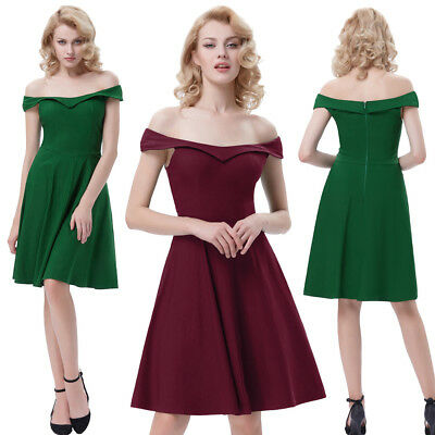 Retro Vintage Off-shoulder A-Line Party Cocktail Picnic Housewife Swing Dress