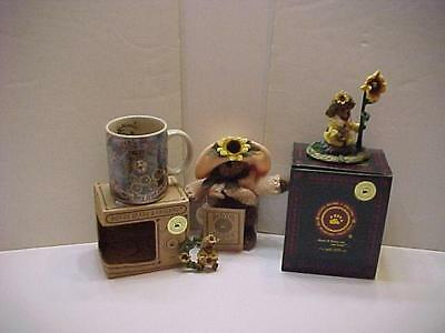 NIB 5 PC Boyds Bearstone 1999 Genuine F.O.B. SUNFLOWER BLOOMIN  Collectors Set