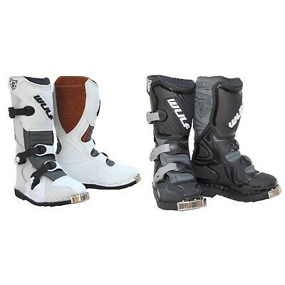 Kids Wulfsport La Boots Rugged Leather Race Boots Many Sizes In Black Or White