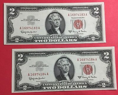 1963A $2 RED US Deuces Choice Crisp AU Consecutives X183 Set of 2! Old Currency