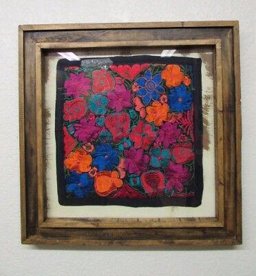 Framed Embroidered Colorful Pillow Art #5-Reclaimed Wood-Mexican Folk Art-28x28