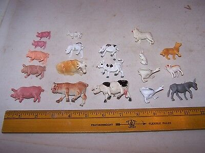 Vintage Toy Plastic Animals FARM ANIMALS Dogs Pigs Cows Donkey Goose Geese