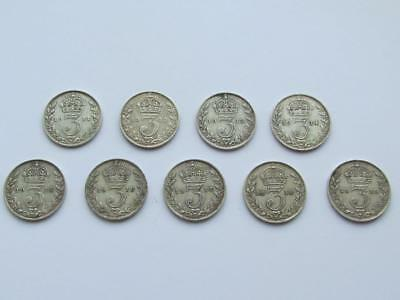9 x George V Date run 1911-1919 silver threepences  - all nice collectable coins