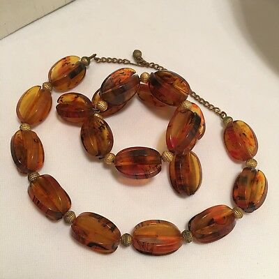 Funky Vint. Choker Necklace & Memory Wire Bracelet Set W/ Unique Root Beer Beads