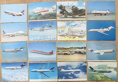 POSTCARD LOT  -  AIRLINE AIRCRAFT PHOTO TYPE postcards  - 16 CARDS