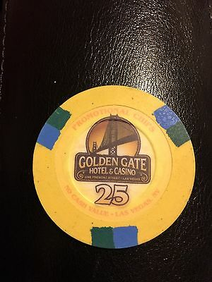 Golden Gate Casino $25 NCV Baccarat Size Casino Chip Yellow
