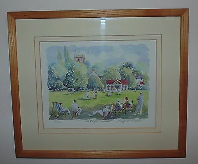 Village Cricket Limited Edition Print Signed Angela Fielding Framed Picture