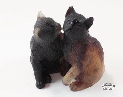 Daum Chatons Two Cats Cuttling Pate-De-Verre Glass Crystal Figurine Paperweight