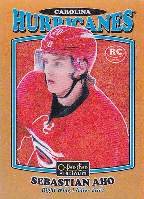 16-17 OPC Sebastian Aho /49 Rookie Retro Orange Rainbow OPEECHEE Hurricanes 2016