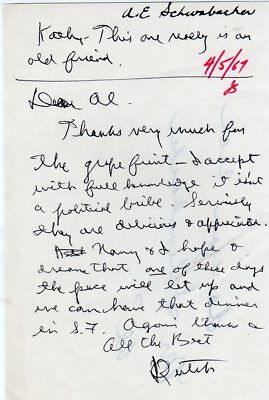 "1967 Handwritten Signed Letter Ronald ""Dutch"" Reagan To Old Friend"