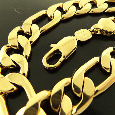 A713 Genuine Real 18K Yellow G/f Gold Solid Mens Heavy Figaro  Necklace Chain