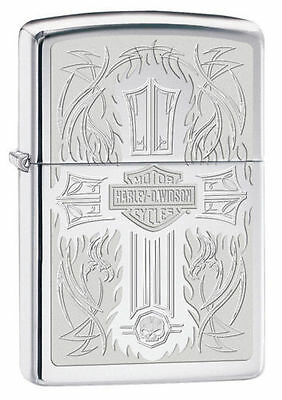 Zippo 28982, Harley Davidson-Cross, High Polish Chrome Lighter, Full Size