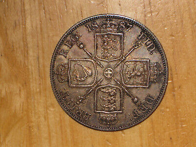 GB England 1887 silver Double Florin coin Extremely Fine nice