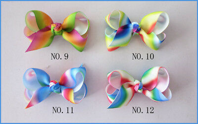 "3/"" Bow 2 Tone Double ABC Hairbow Clip 200 BLESSING Good Girl Boutique 2.75/"""