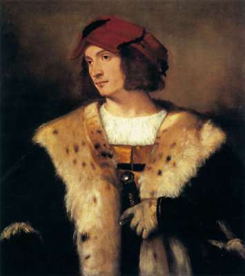 """Handmade Oil Painting repro  Titian - Portrait of a Man in a Red Cap 16""""x20"""""""