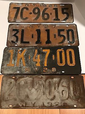 Four New York License Plates Number Tag Plate Craft Lot