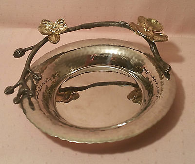 ARAM orchid nut dish vtg silver tropical flower branch bowl table art candy