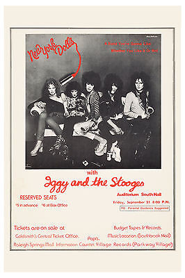 New York Dolls & Iggy & the Stooges Memphis Concert Poster 1974  12x18