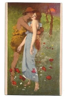 Lovers Man Woman  Postcard England An Idyll  Art Work