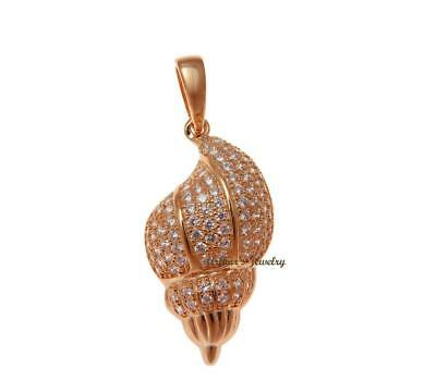Rose Gold Plated 925 Silver Hawaiian Conch Sea Shell Pendant Cz 14.30Mm