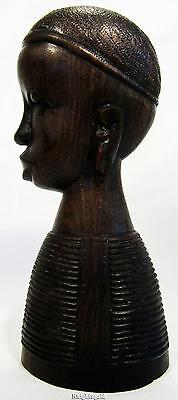Tribal Tanzania Hand Carved Ebony Wood African Bust Vintage Statue 18cm / 7""