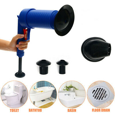 Air Drain Blaster Pressure Pump Cleaner Unclogs Toilet Hand Powered Plunger Set