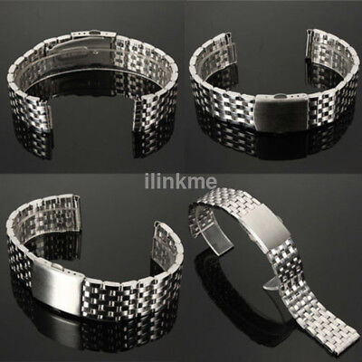 Unisex Stainless Steel Metal Watch Band Silver Bracelet Clasp Belt Strap 18-22mm