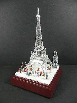 Paris Eiffel Tower 21 cm, glasoptik, with Sound and Light, Deluxe Version, NEW